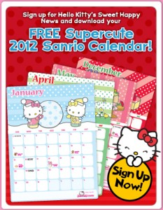 free 2012 hello kitty calendar