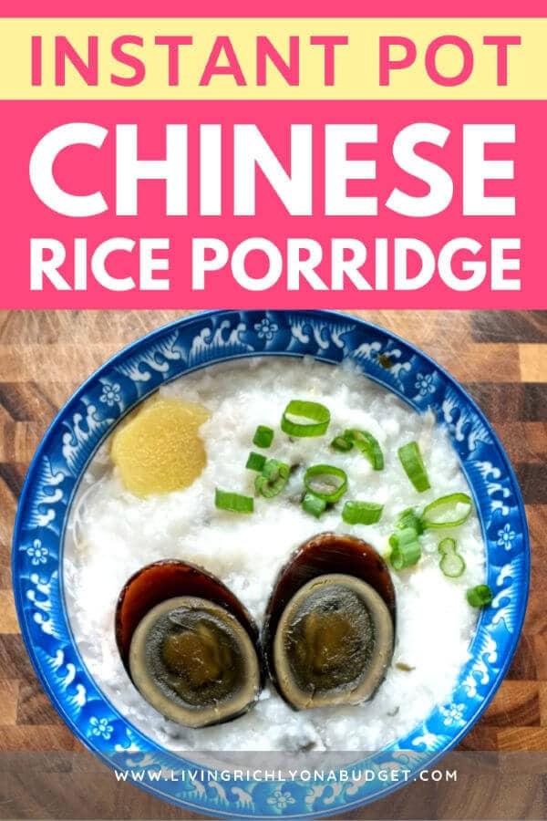 Instant Pot Chinese Rice Porridge
