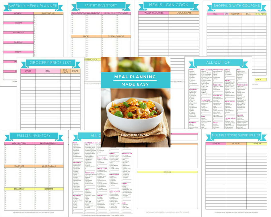 Meal Planning Printables with Cover